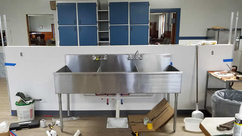 New larger 3-tub sink